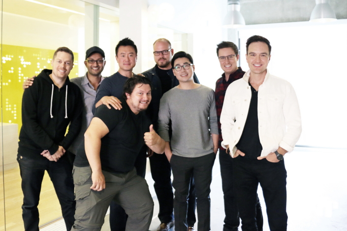 The Gear IconX was a project of the Samsung Design America team. From left to right: Adam Smith-Kipnis, Sameer Bhalla, James Lee, Alejandro Vallejo, Dennis Miloseski, Seounghyun Son, Sun, Rhys Bonahoom and Howard Nuk.