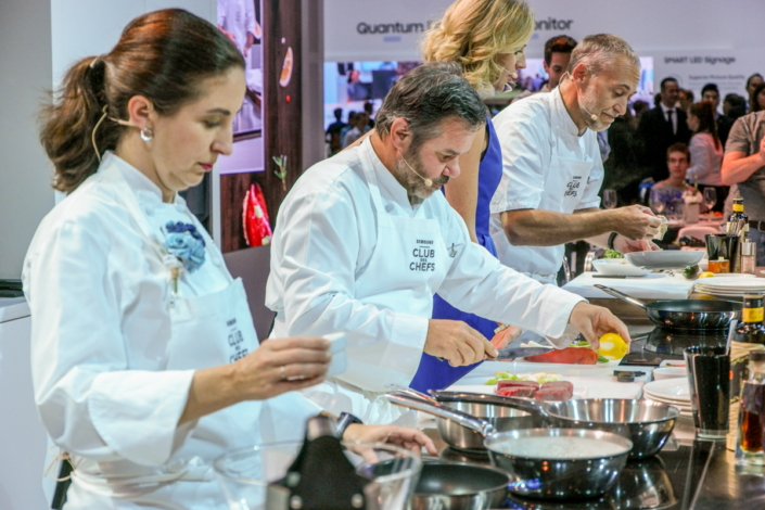 Chefs Michel Troisgros, Michel Roux and Elena Arzak prepare their world-class cuisine.