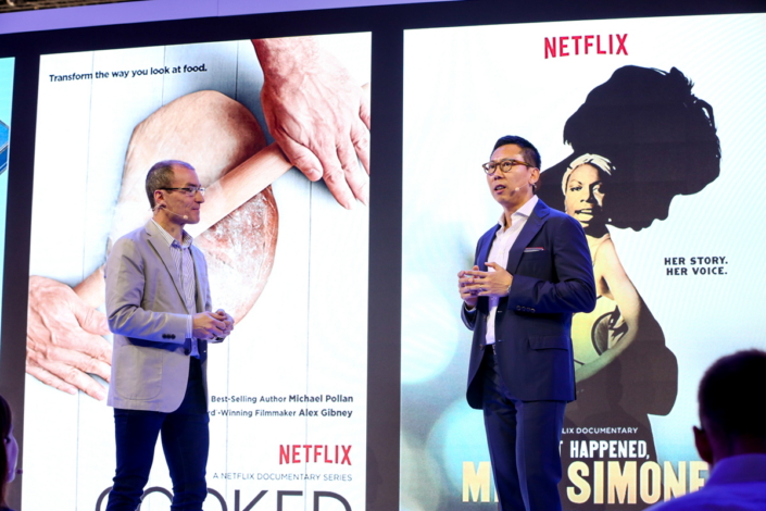 Won-Jin Lee, Executive Vice President of Samsung Electronics, and Scott Mirer, Vice President of Device Partner Ecosystem at Netflix, announce an expansion in their companies' collaboration to offer more HDR content for European customers to stream on Samsung's SUHD TVs.