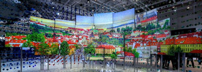 The artwork comprises three walls and dozens of 65-and 78-inch Samsung SUHD TVs featuring Quantum Dot technology.