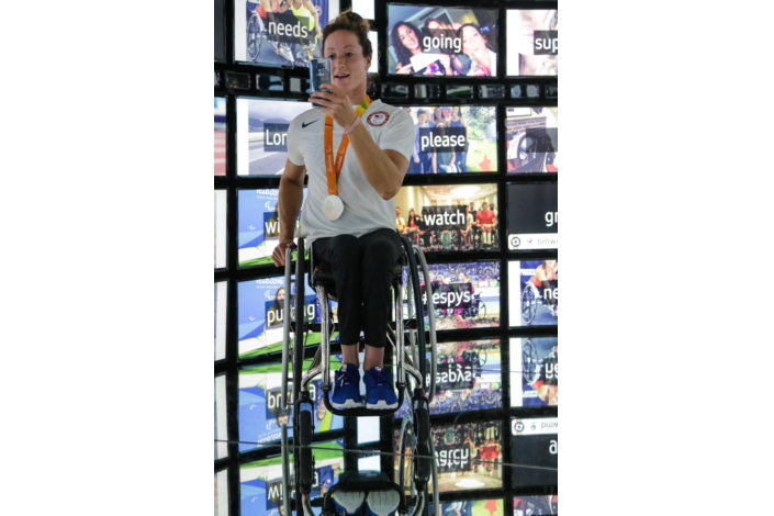 Inside the Social Galaxy Room, Team USA Paralympic Track and Field Athlete, Tatyana McFadden was able to see her past Instagram moments come to life in full 360 at the Samsung Galaxy Studio in Olympic Park in Rio de Janeiro, Brazil on Saturday, September 10th 2016.
