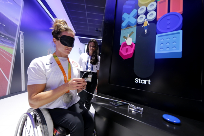 Team USA Paralympic Track and Field Athlete, Tatyana McFadden, participates in the Galaxy Accessibility Experience Program and tested out the Blind Game at the Samsung Galaxy Studio in Olympic Park on Saturday, September 10th 2016.