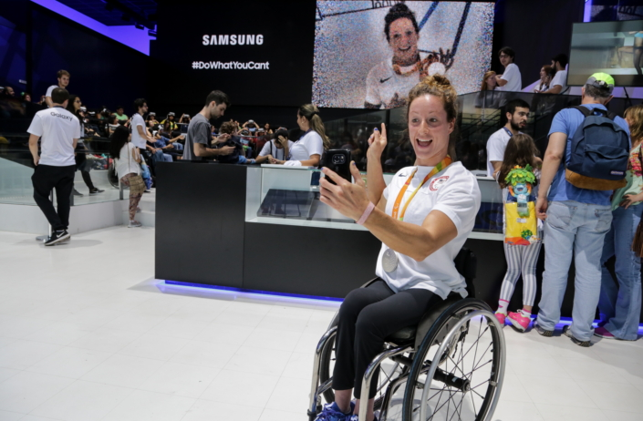 Team USA Paralympic Track and Field Athlete, Tatyana McFadden takes a selfie at Samsung Galaxy Studio in Olympic Park on September 10th, 2016 in Rio de Janeiro, Brazil during the Rio 2016 Paralympic Games.