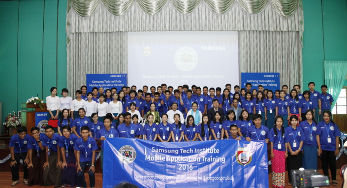 Group photo with the students, teachers, faculties, government officials and Samsung Myanmar officials.