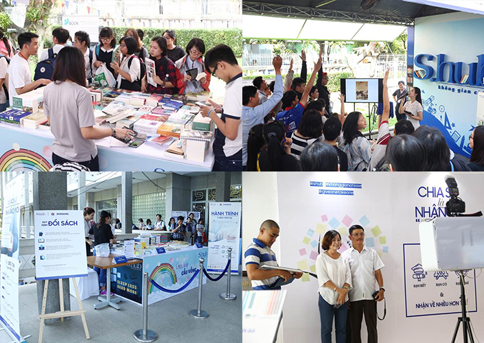 Activities during S.hub Ho Chi Minh's one-year anniversary celebration included bookmark making, as well as a book auction, sale and exchange.
