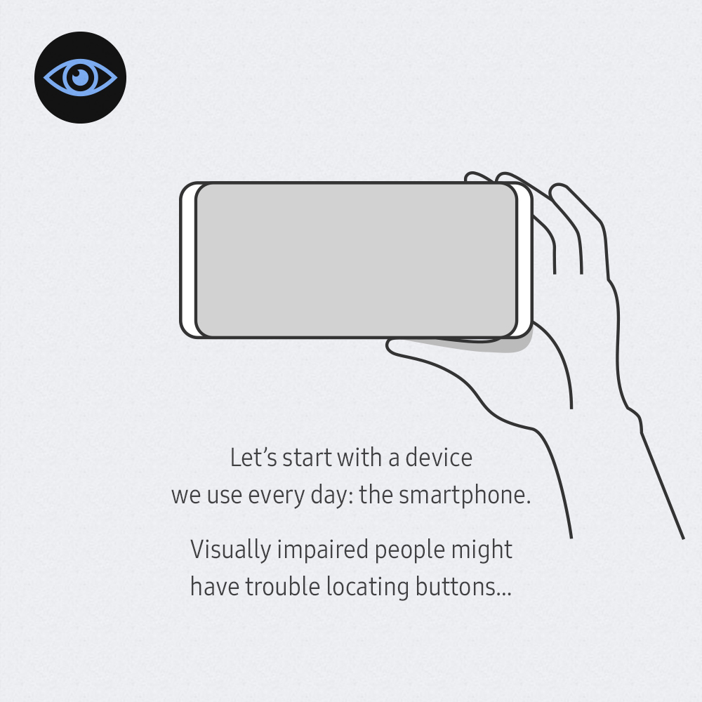 Let's start with a device we use every day: the smartphone. Visually impaired people might have trouble locating buttons...