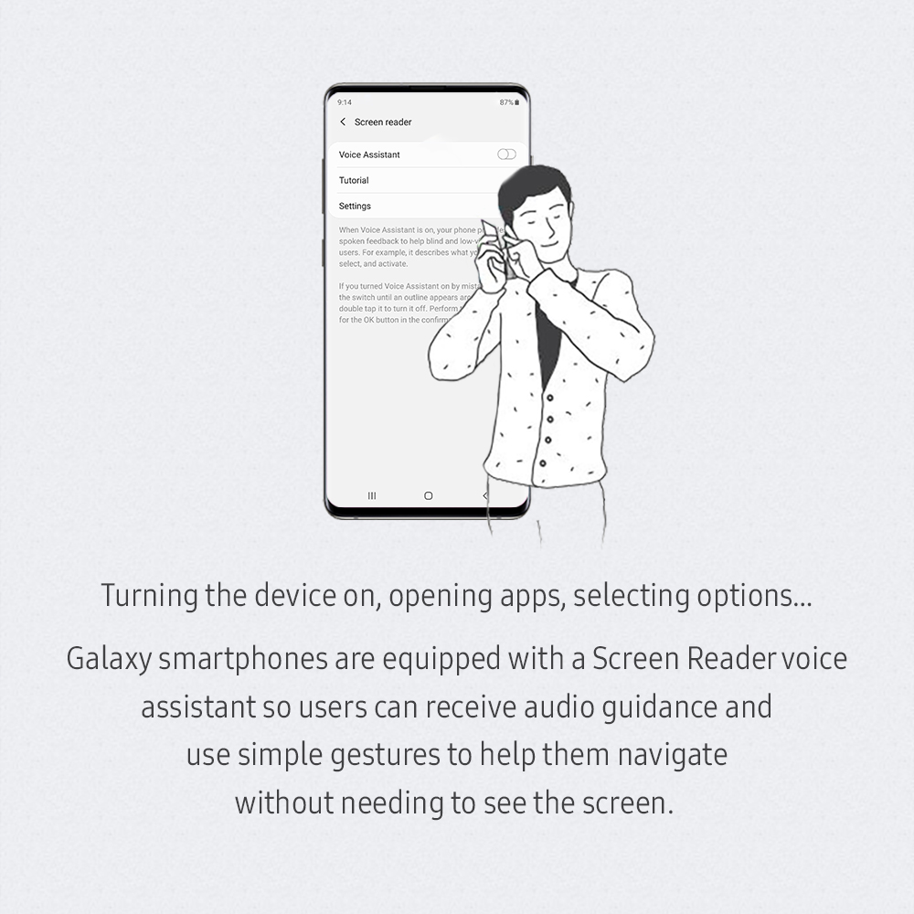 Turning the device on, opening apps, selecting options… Galaxy smartphones are equipped with a Screen Reader voice assistant so users can receive audio guidance and use simple gestures to help them navigate without needing to see the screen.