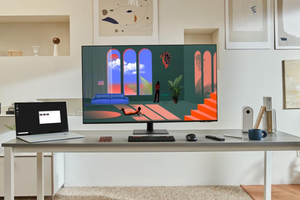 Samsung smart monitor on table