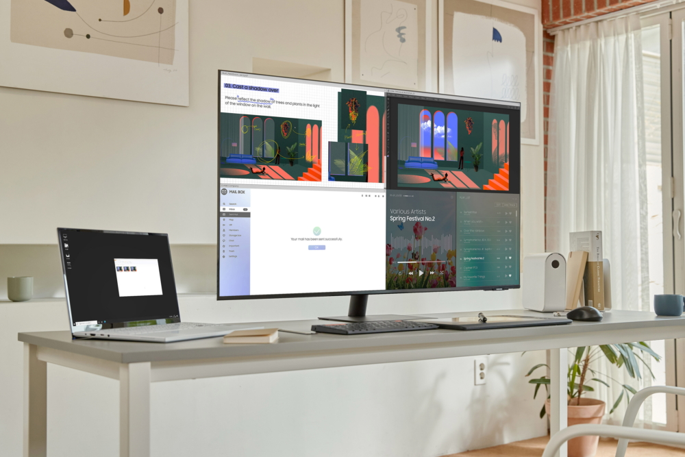 Medium shot of Samsung Smart Monitor