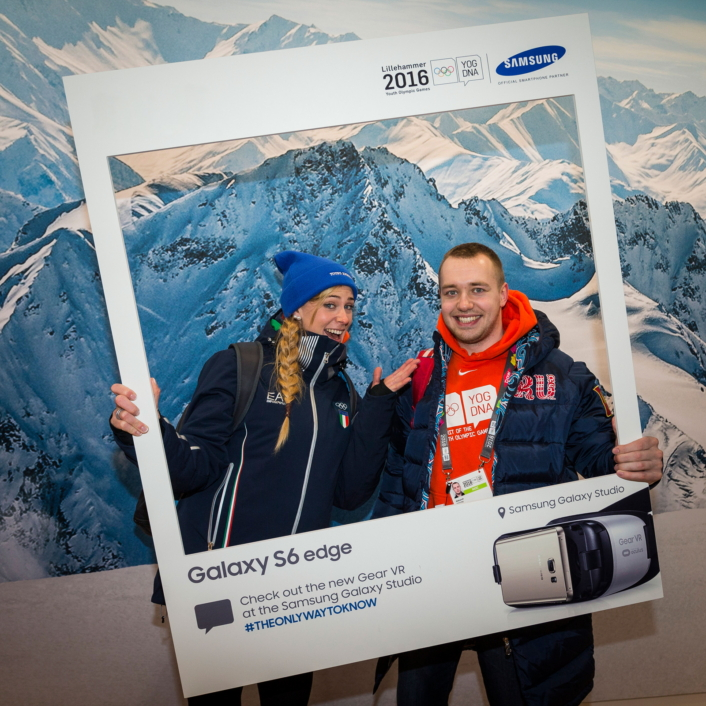 Two IOC Young Ambassadors pose for a photo together at the Samsung Galaxy Studio in Lillehammer before the start of the 2016 Winter Youth Olympic Games.