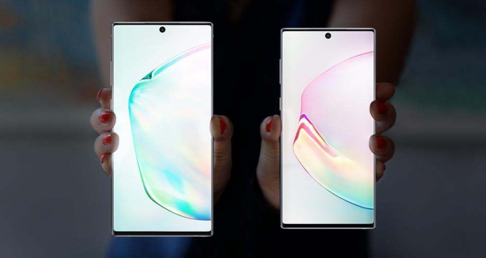 Samsung Galaxy Note 10+ (左)及 Galaxy Note 10 (右)