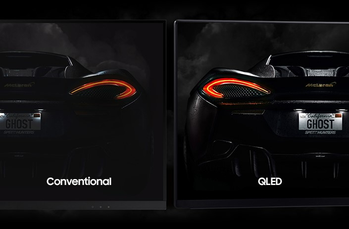 showing difference between conventional and QLED screen